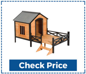 "PawHut 67"" Large Wooden Dog House with Porch"