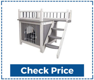 PetsFit Outdoor Wooden Dog House with stairs